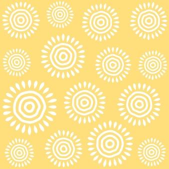 Soleil mignon sans soudure de fond, modèle sans couture dessinés à la main