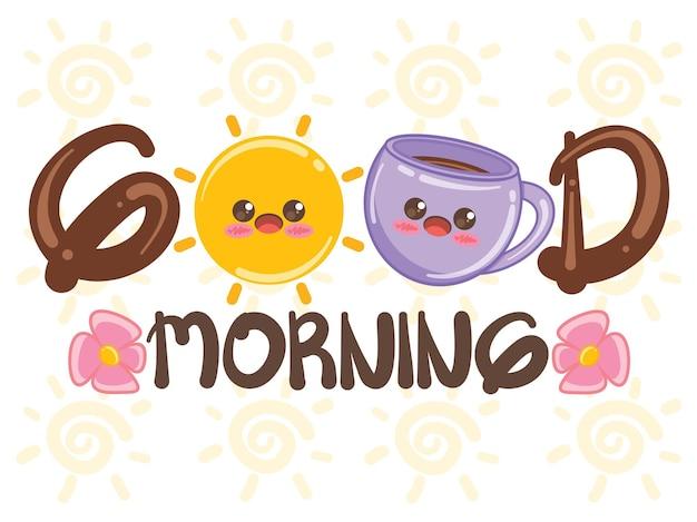 Soleil mignon et tasse de café bonjour concept. personnage de dessin animé et illustration.