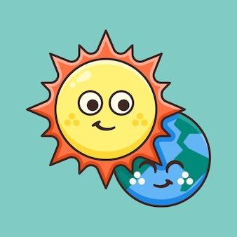 Soleil mignon avec de la terre derrière.