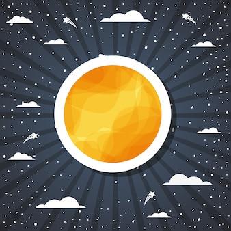 Soleil et nuages sur l'illustration vectorielle sunburst