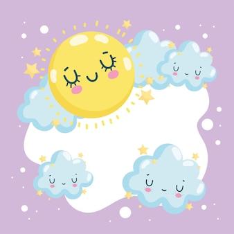 Soleil et nuages mignons