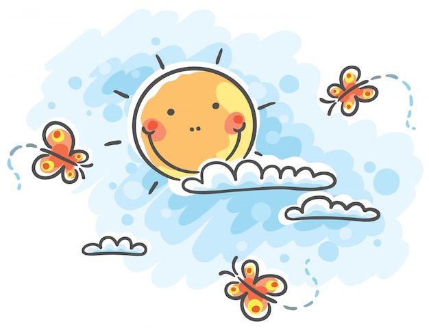 Soleil avec nuages et papillons
