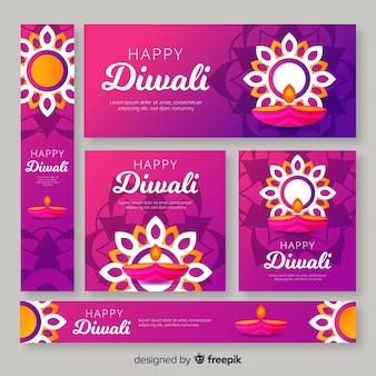 Soleil ornemental et bougies pour les bannières d'événements de diwali