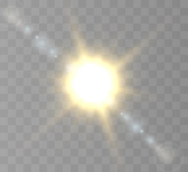 Soleil Avec Rayons Et éblouissement Vecteur Premium