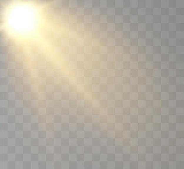 Soleil avec rayons et éblouissement