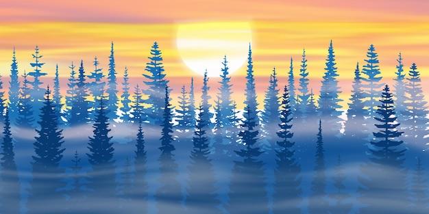 Le soleil se couche dans la forêt d'hiver