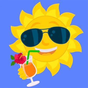 Soleil souriant avec des lunettes de soleil