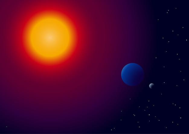 Soleil, terre et lune sur l'espace