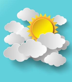 Soleil de vecteur avec fond de nuages.