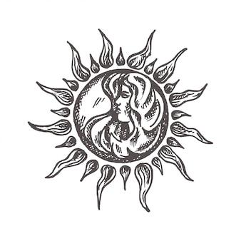Soleil avec visage stylisé comme gravure symbole d'astrologie de vecteur dessiné à la main