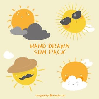 Soleils dessinés à la main emballent