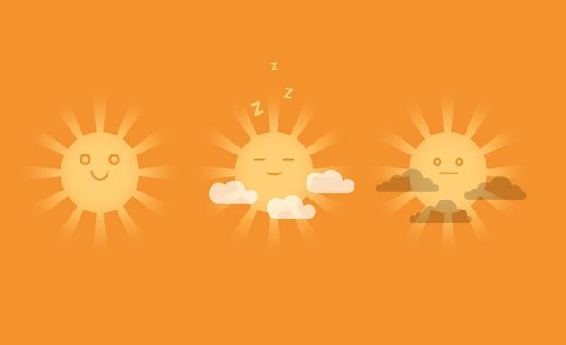 Soleils souriants mignons avec des nuages