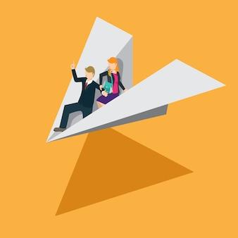 Solution d'affaires avec du papier avion en concept isométrique
