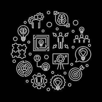 Solution d'affaires icônes rondes dans le style de ligne mince
