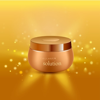 Solution de collagène intensif tube de crème fond d'or affiche publicitaire pour les produits pharmaceutiques et cosmétiques illustration réaliste
