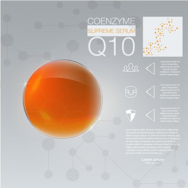 Solution cosmétique. essence de gouttes d'huile de collagène suprême avec hélice d'adn