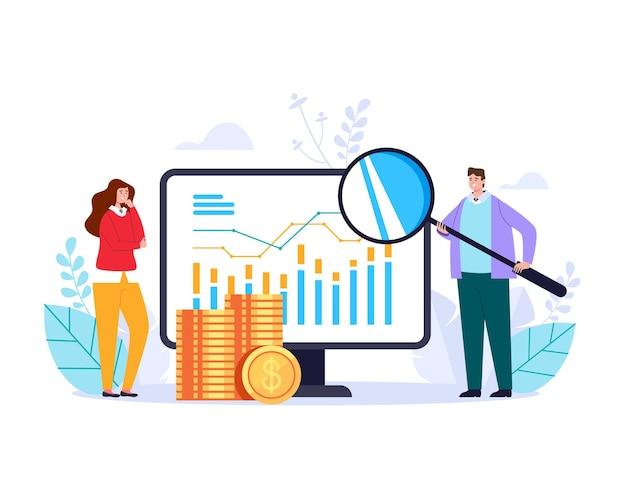Solution de développement en ligne statistique d'analyse commerciale à la recherche d'illustration abstraite web