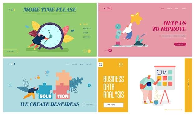 Solution d'entreprise, analyse de données, gestion du temps, ensemble de pages de destination de site web de service de rétroaction.