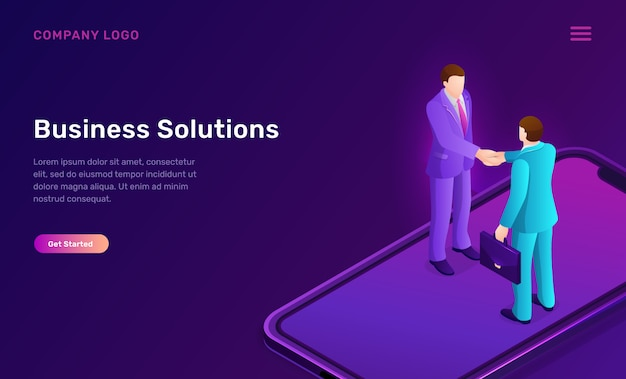 Solution d'entreprise et concept isométrique d'accord