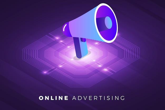 Solution technologique de concept de conception d'illustrations isométriques sur le dessus avec publicité numérique