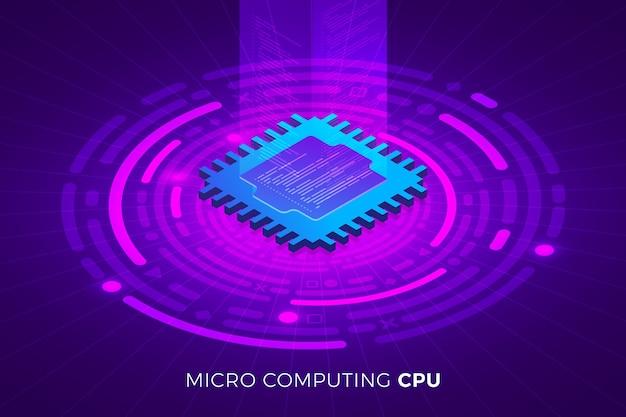 Solution technologique de concept de conception d'illustrations isométriques sur le dessus avec puce de processeur cpu