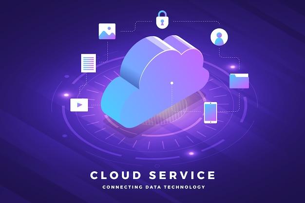 Solution Technologique De Concept De Conception D'illustrations Isométriques Sur Le Dessus Avec Service Cloud Vecteur Premium