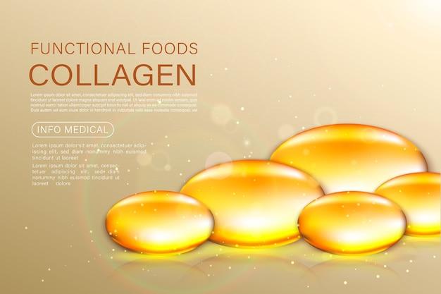 Solution de traitement anti-âge pour masque de perle d'or. bulles d'huile d'or sur fond précieux.