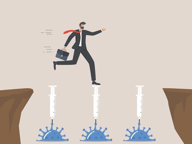 Solution de vaccin covid-19 pour les entreprises, les entrepreneurs marchent sur des seringues de vaccin qui collent aux virus pathogènes comme un pont vers la prochaine falaise