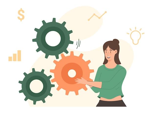 Solutions d'affaires pour le succès et la stratégie résolvent le problème du travail d'équipe incomplet