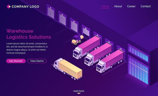 Solutions logistiques d'entrepôt atterrissage isométrique
