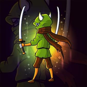 Le sombre avec la conception du logo esport de l'épée des jumeaux de l'illustration