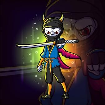 Le sombre avec la conception de logo esport d'épée d'illustration