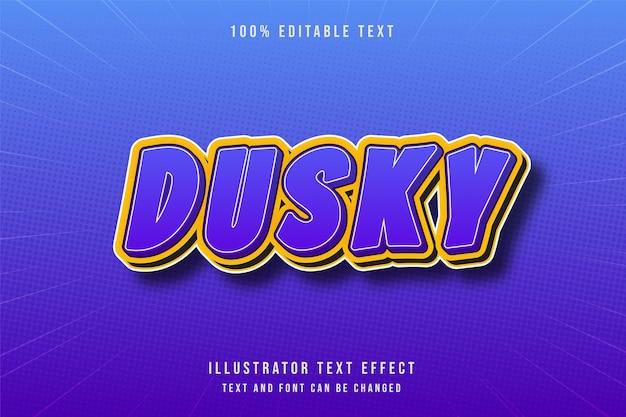 Sombre, effet de texte modifiable 3d style de texte bleu dégradé violet moderne