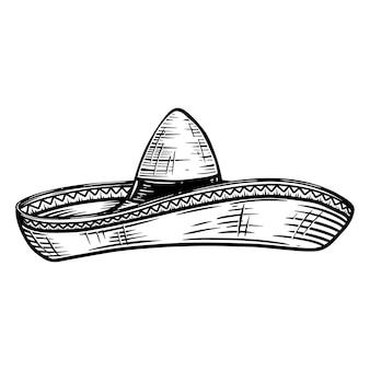 Sombrero mexicain dans le style de tatouage isolé sur fond blanc. élément de design pour affiche, merde, carte, emblème, signe, badge.