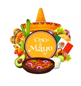 Sombrero mexicain, nourriture de fête fiesta. cinco de mayo