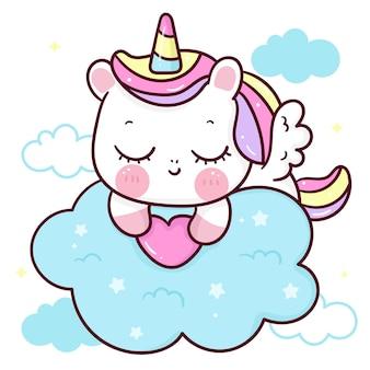 Sommeil de dessin animé mignon pégase licorne tenant coeur sur animal kawaii nuage