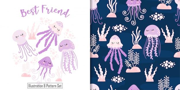 Sommeil mignon carte méduse dessinés ensemble de modèle sans couture à la main