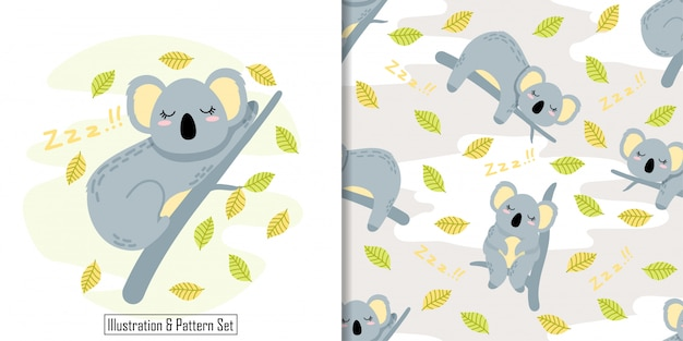 Sommeil mignon koala carte main dessiné modèle sans couture