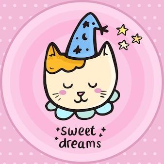 Sommeil mignon petit chat minou dessin illustration simple art ligne, doux rêves
