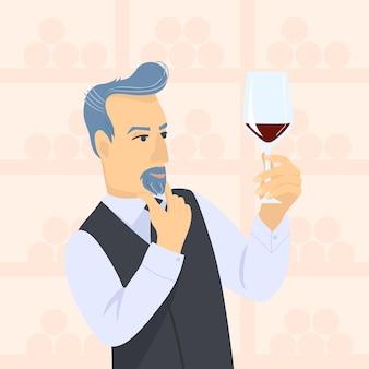 Sommelier masculin en suite regardant le vin rouge en verre illustration de dessin animé plat de vecteur