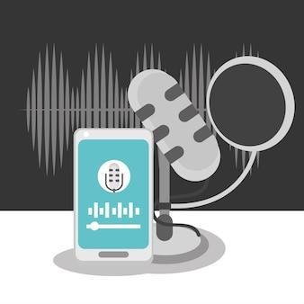 Son du téléphone et du microphone de podcast