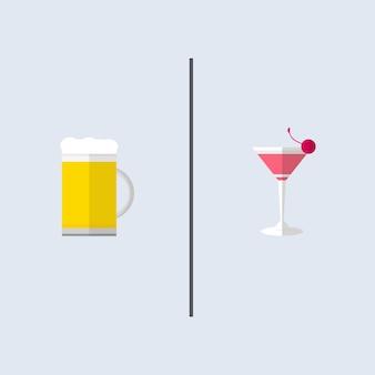 Son et ses affaires, un grand verre de bières et un verre de cocktails rose.