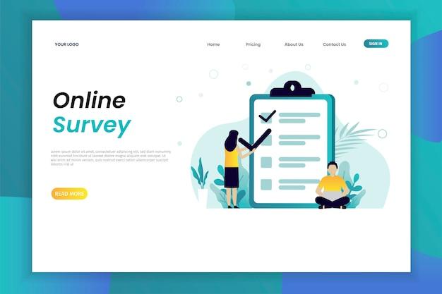 Sondage en ligne et enquête vector illustration concept web page modèle avec caractère