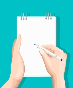 Sondage en ligne, liste de contrôle. la main tient la tablette et l'écran vertical tactile. concept d'entreprise de rétroaction. illustration plate de dessin animé isolée sur bleu. conception minimaliste pour site web, application mobile