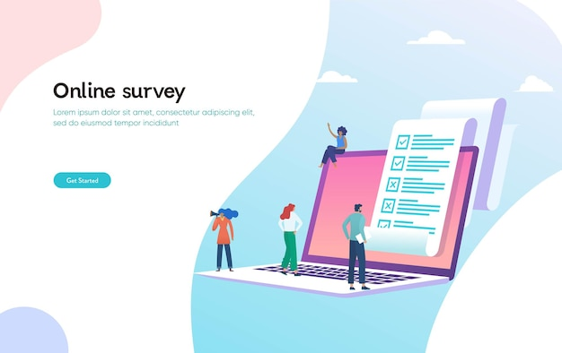 Sondage en ligne et sondage vector illustration concept