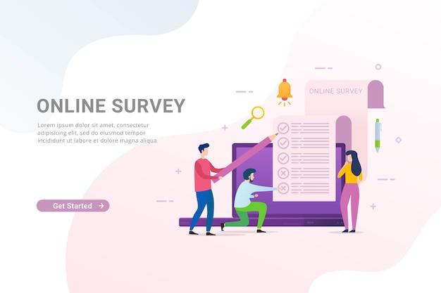 Sondage et sondage en ligne avec des personnes remplissant un formulaire de sondage en ligne