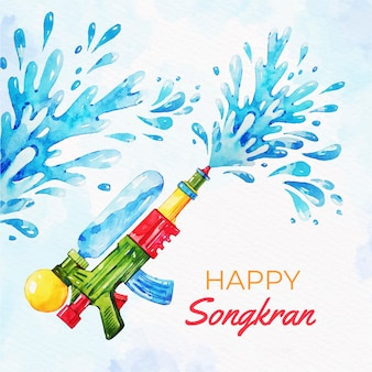 Songkran aquarelle avec pistolet à eau