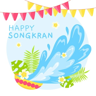 Songkran design dessiné à la main