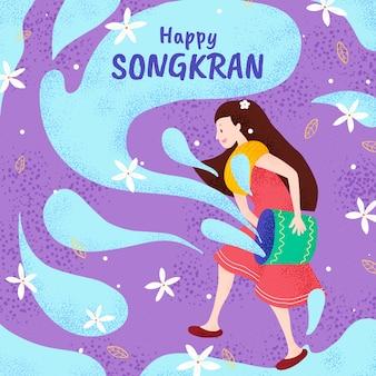 Songkran dessiné à la main