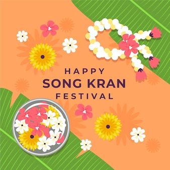 Songkran heureux avec des fleurs